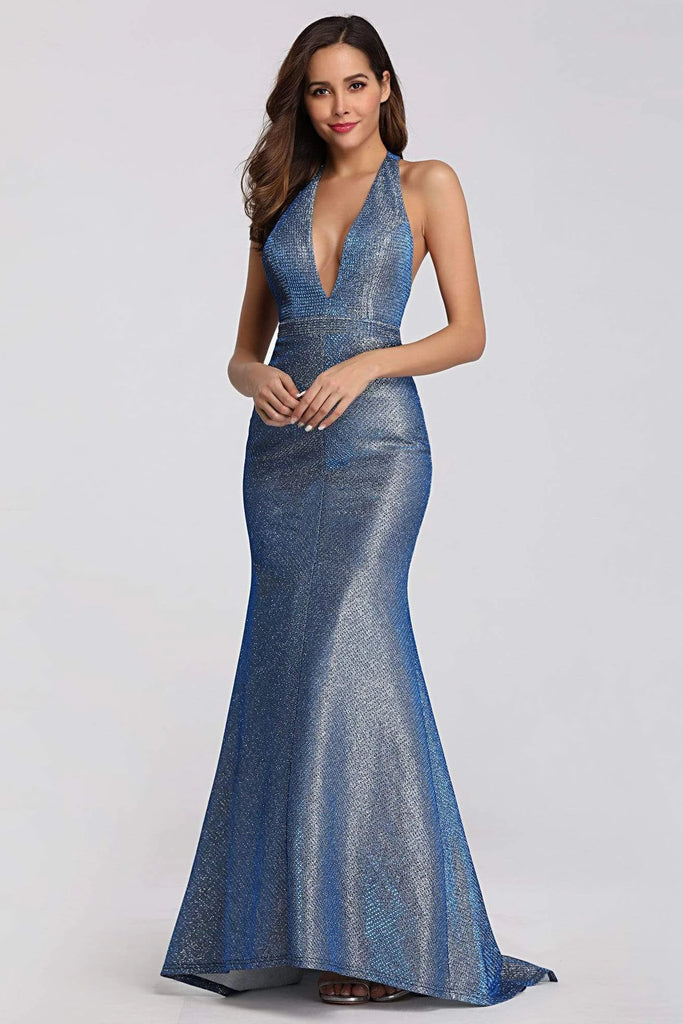 Sexy V Neck Halter Blue Backless Prom Dresses, Cheap Long Party Dresses P1171