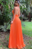 A Line Spaghetti Straps Orange Party Dresses, Sexy Deep V Neck Chiffon Prom Dresses P1573