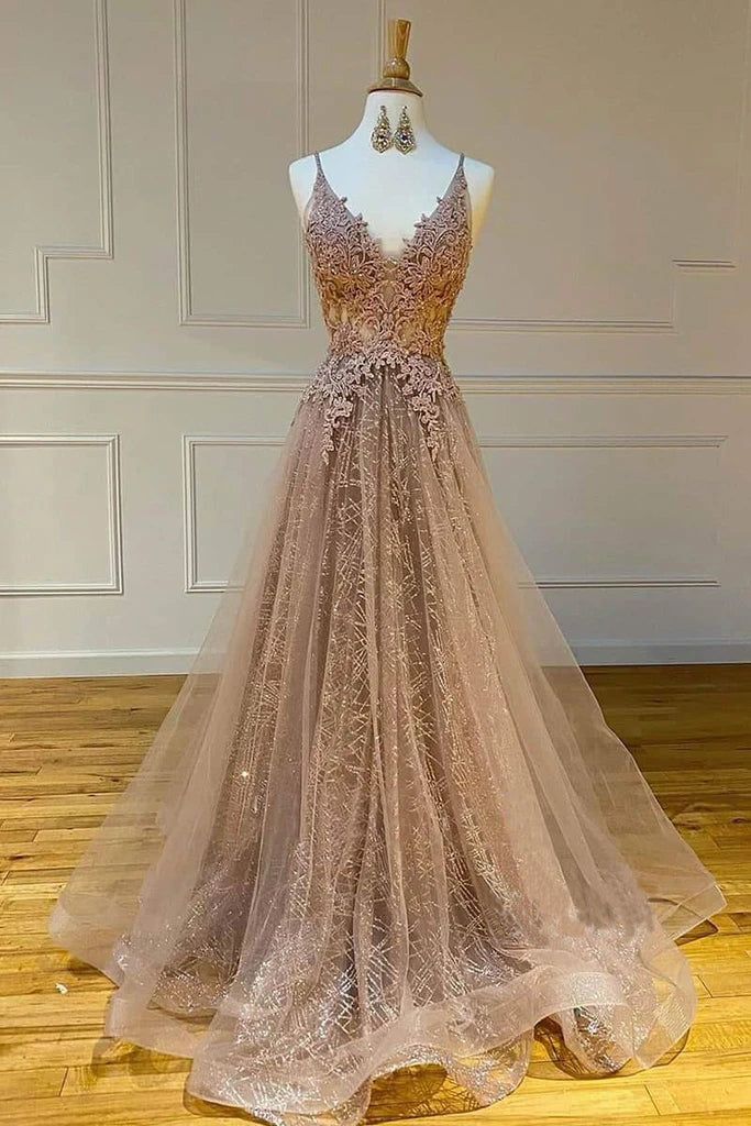 Sparkly Spaghetti Straps V Neck Lace Appliques Prom Dresses, Long Evening Dresses P1562