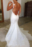 Charming Spaghetti Straps Lace Backless Off White Mermaid Wedding Dresses W1113