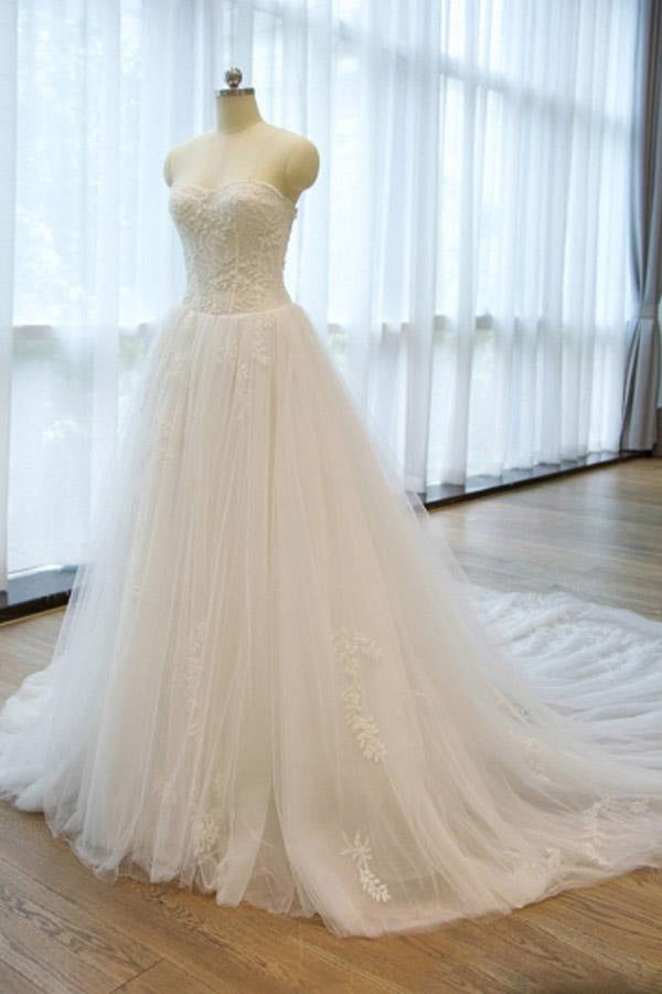 Ball Gown Strapless Lace Appliques A Line Chapel Train Wedding Dress with Beading PW297