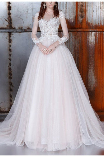 Long A-Line Long Sleeve Tulle Lace Plus Size Princess Elegant Wedding Dress PM32