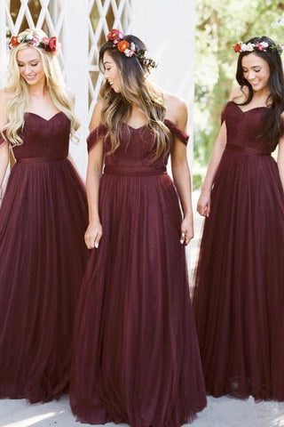 New Style A Line Tulle Sweetheart Off the Shoulder Long Ruffles Bridesmaid Dresses uk PW286