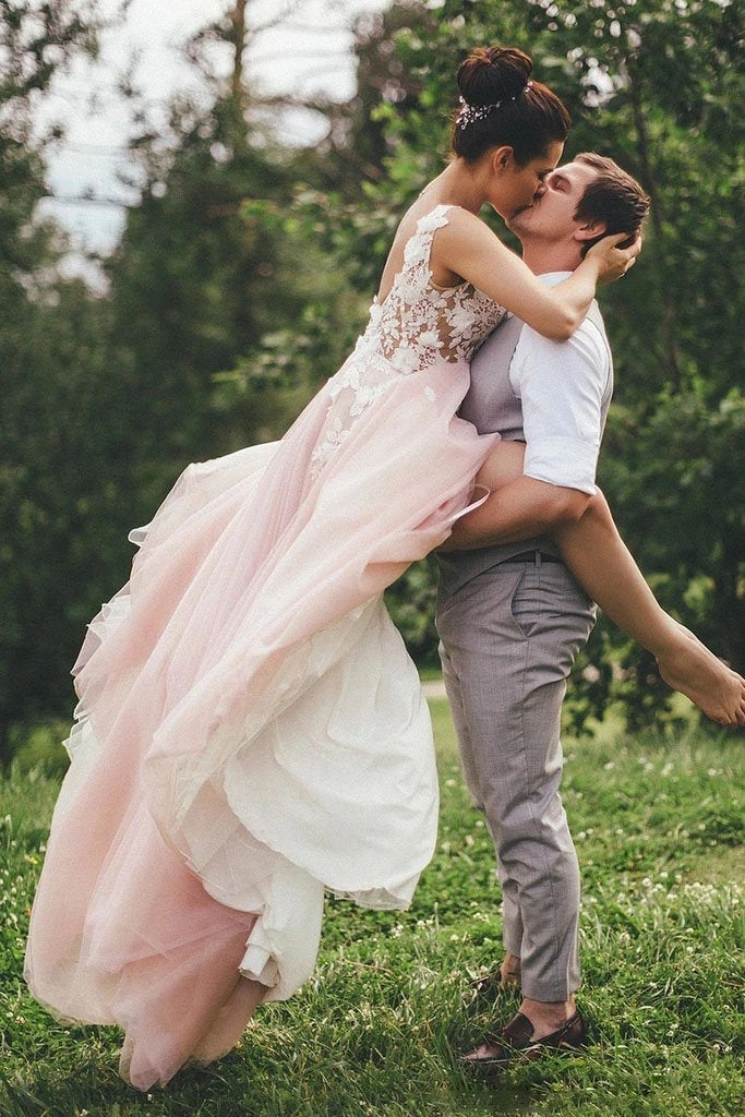 Sheer Round Neck Pink Wedding Dresses Backless Bridal Gown With Lace Appliques W1262