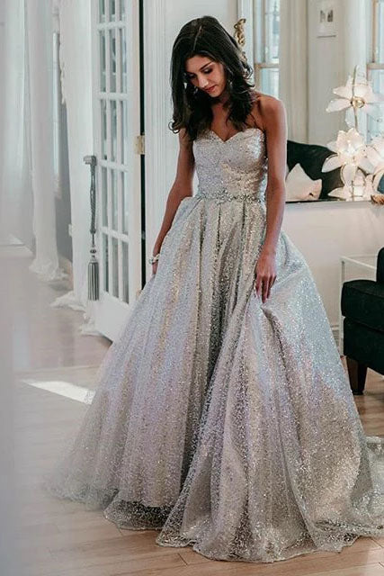 Sparkly Sweetheart Silver Long Prom Dresses Sequins Beads Formal Dresses P1326