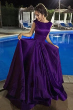 Ball Gown V-Neck Sweep Train Satin Sleeveless Bateau Purple Backless Prom Dresses UK PH420