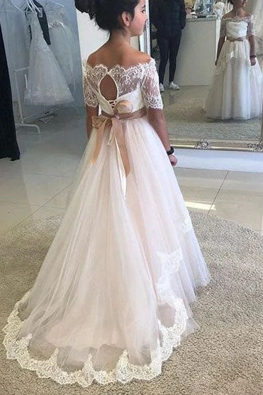 A Line Off the Shoulder Half Sleeve Flower Girl Dresses with Lace up, Wedding Party Dresses FG1025