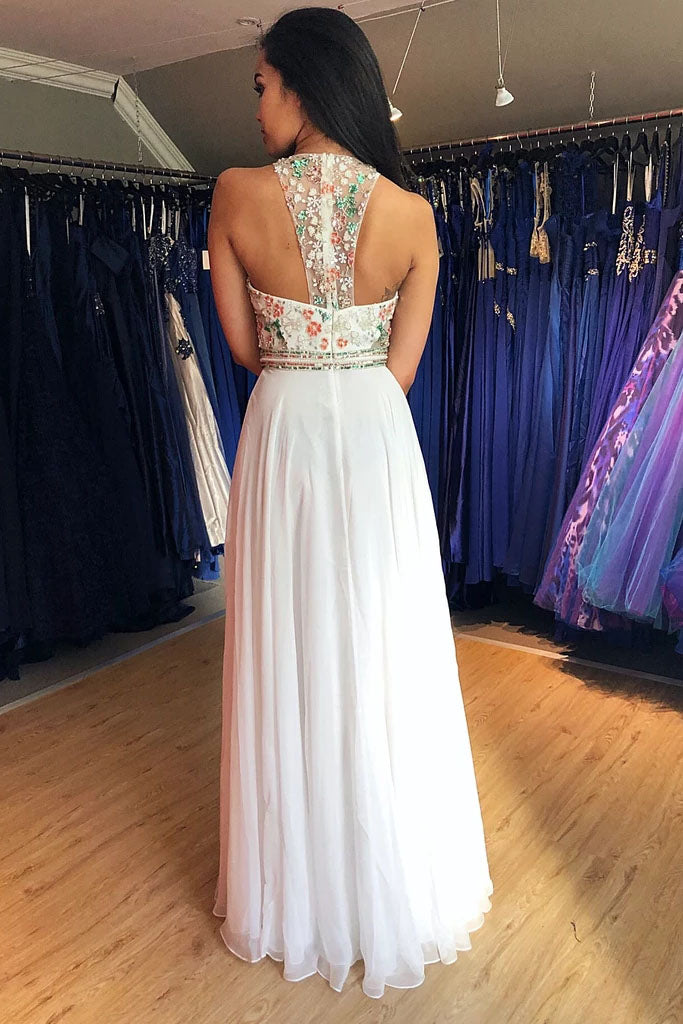 Unique A Line Colorful Beads Chiffon White Formal Dresses, Prom Evening Dresses P1391