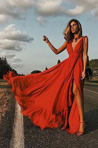 Elegant Red Sexy Simple Deep V neck Soft Side Split Chiffon Sleeveless Prom Dresses UK PH451