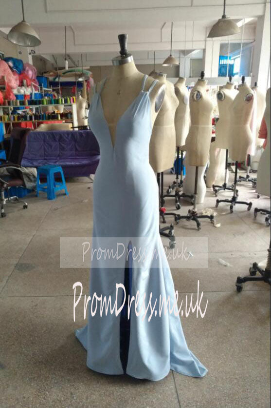 Fashion Light Blue High Neck Beads Long Two Piece Mermaid Halter Prom Dresses uk pm02