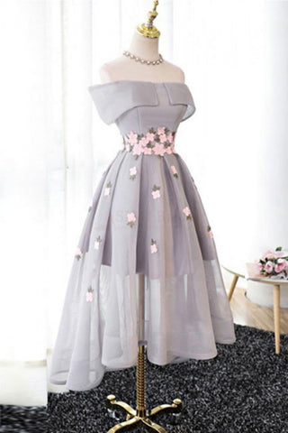 A Line Off Shoulder Grey High Low Homecoming Dress Cocktail Dresses Graduation Dresses PM94
