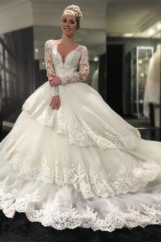 Long Sleeve V-neck Open Back Lace Ball Gown Wedding Dresses, Bridal Dresses PW388