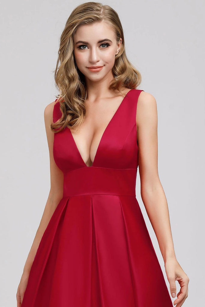A Line Satin Red Deep V Neck Backless Prom Dresses Simple Dance Dresses P1189