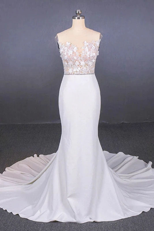 Mermaid Sheer Neck Mermaid Long Wedding Dress with Appliques, Wedding Gowns W1149
