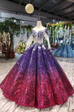 Ball Gown Ombre Sparkly Long Sleeve Sequins Prom Dresses, Quinceanera Dresses P1217