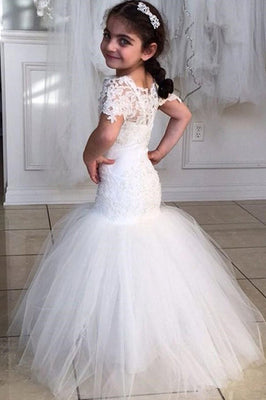 Long Short Sleeves Mermaid Lace Appliques Tulle Flower Girl Dress, Wedding Party Dress PW119