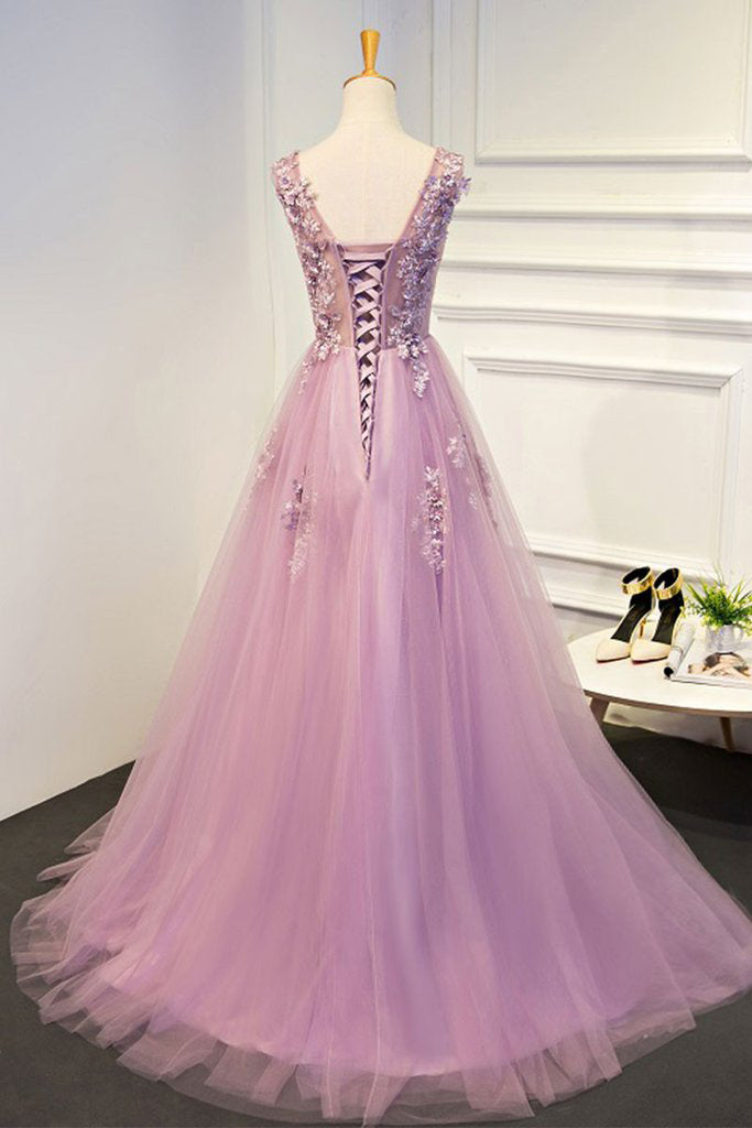 A line Pink Lace Appliques Beading Evening Prom Dresses Sexy See Through Dance Dress P1533
