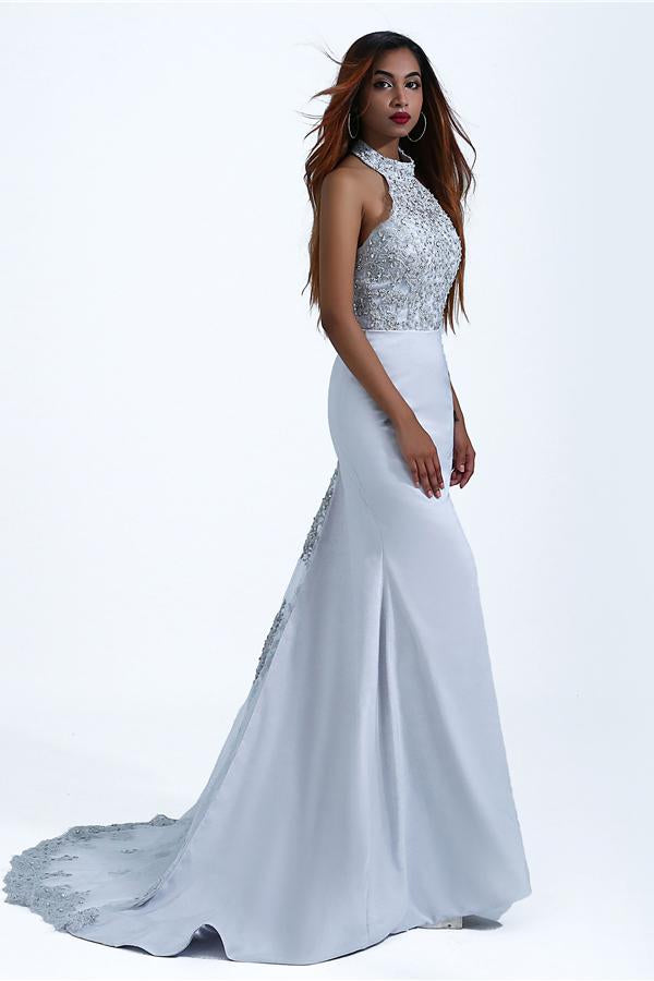 Charming Mermaid Halter Silver Sequins Prom Dresses with Appliques, Party Dress P1464