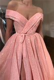 A Line Pink Sequins Off the Shoulder Prom Dresses with Split, V Neck Dance Dresses P1315