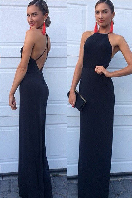 New Arrival Modest Halter Criss-Cross A-Line Long Navy Blue Sleeveless Prom Dresses uk PM616