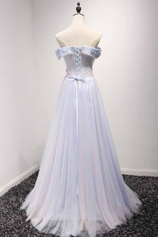 Sky Blue A-Line Off-the-Shoulder Floor-Length Tulle Prom Dresses uk with Appliques Lace PM955