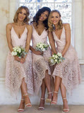 A-Line V-Neck Spaghetti Straps Asymmetrical Pink Lace Bridesmaid Dress PM93