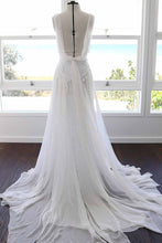 A-line Spaghetti Strap White Lace Chiffon Sweetheart Backless Beach Wedding Dresses PM881