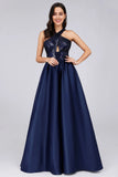 Cold Shoulder Sequin Navy Blue Prom Dresses Backless Satin Long Evening Dresses P1173