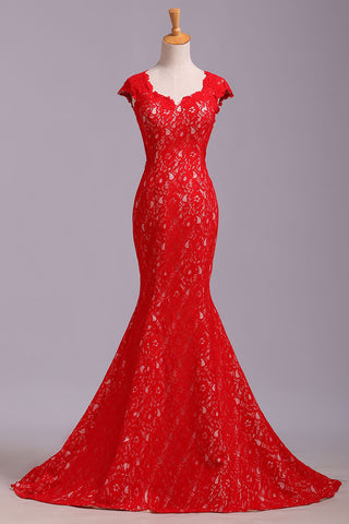 Elegant Red Sweetheart Mermaid Lace Cap Sleeve Open Back Prom Dress,Party Dresses uk PW175