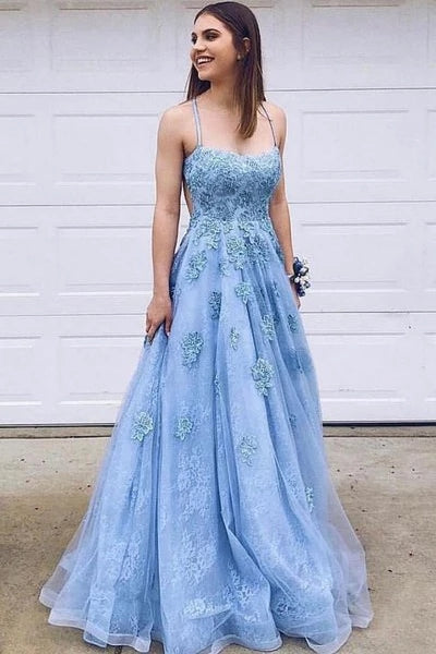 Chic Spaghetti Straps Blue Lace Tulle Long Prom Dresses, Evening Dress With Lace Applique P1138