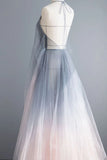 Simple Deep V Neck Ombre Tulle Halter Sleeveless Prom Dresses Backless Formal Dresses P1203