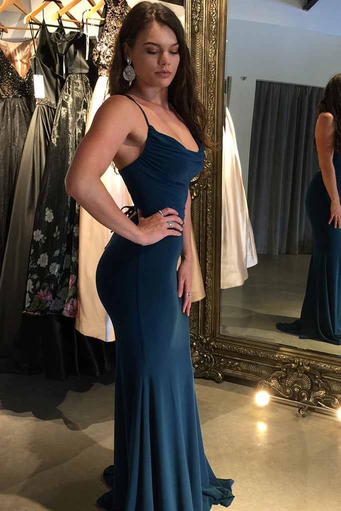 Sexy Mermaid Navy Blue Criss Cross Prom Dresses, Long Evening Dresses P1262