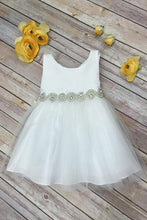 2018 Scoop Bowknot Knee-length Ivory Organza Beads Sleeveless Flower Girl Dresses PH673