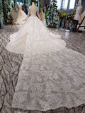 Princess Long Sleeve Beads Lace Appliques Ivory Prom Dresses, Quinceanera Dresses P1070