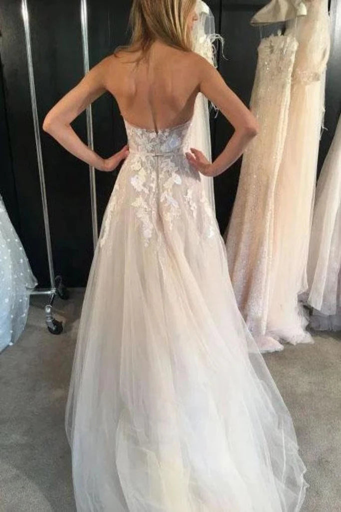 Unique Ivory Strapless Tulle Long Beach Wedding Dresses, Sexy Appliques Bridal Dresses W1268