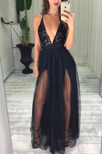 Sexy Black Spaghetti Straps Deep V Neck High Slit Tulle with Beads Prom Dresses uk PW43