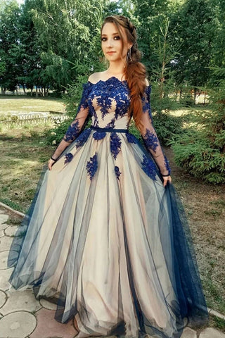 Unique Long Sleeve Off the Shoulder Tulle Long Prom Dresses, Appliques Blue Party Dresses P1238