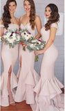 2017 Sexy Mermaid Ruffles Front Split Off-the-shoulder Sleeveless Bridesmaid Dress PM329