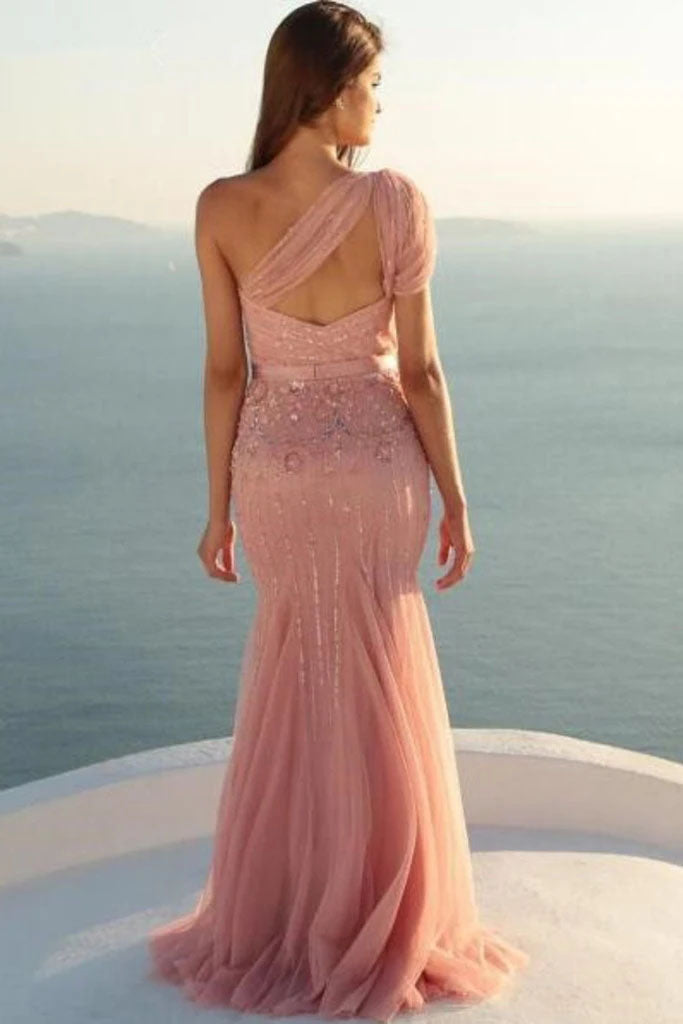 Charming Mermaid One Shoulder Tulle With Beads and Sash Prom Dresses P1479