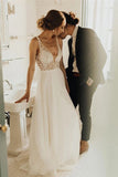 Elegant A Line Tulle Ivory V Neck Wedding Dresses With Pearls, V Back Beach Bridal Dresses W1209