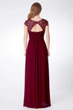 Elegant A Line Cap Sleeve Burgundy Lace Prom Dresses with Chiffon, Bridesmaid Dresses P1176
