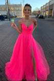 Simple A Line Spaghetti Straps Tulle V Neck Prom Dresses with Slit, Evening Dresses PD18