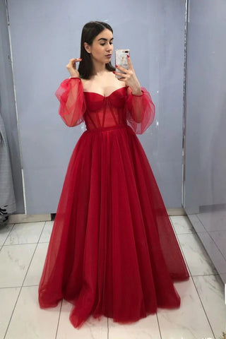 Ball Gown Red Off the Shoulder Long Sleeves Tulle Sweetheart Prom Formal Dresses P1544