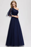 Simple A Line One Shoulder Navy Blue Tulle Prom Dresses Cheap Formal Dresses P1175