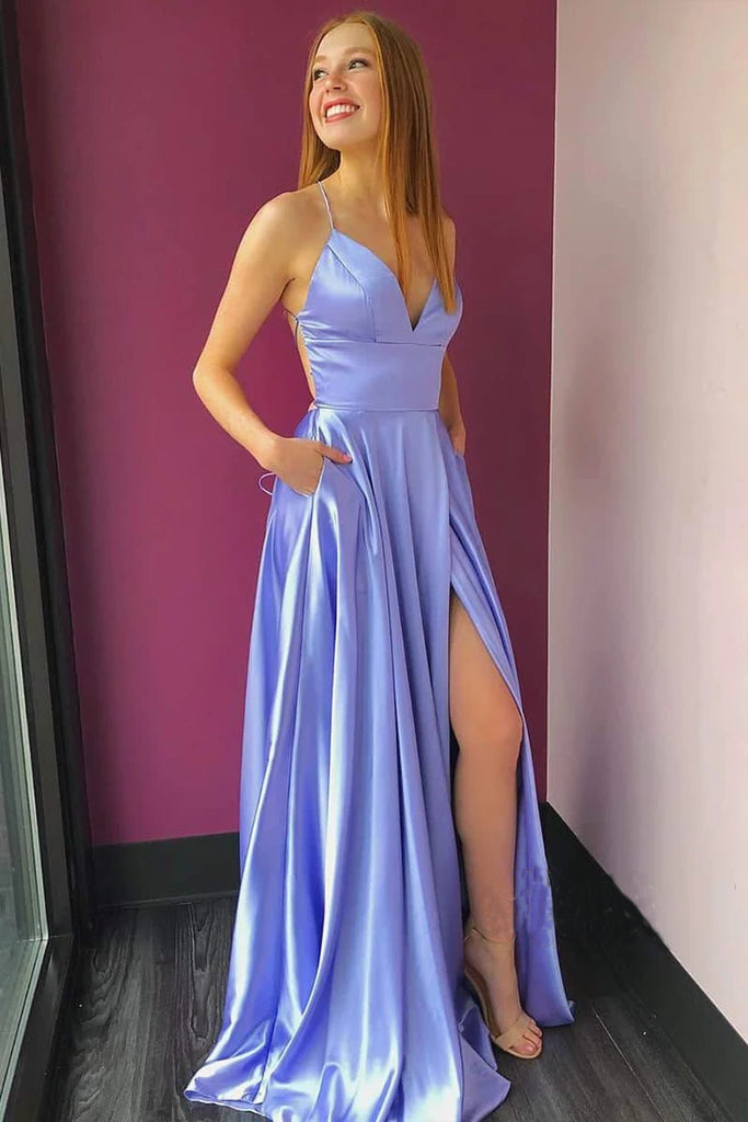 A line Lilac Satin V Neck Spaghetti Straps Split Prom Dresses with Pockets, Dance Dress P1563