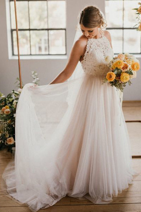 A Line Round Neck Ivory Sweep Train Tulle Halter Wedding Dress With Lace Uk Ph786