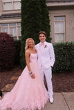 Ball Gown Pink Tulle Spaghetti Straps Prom Dresses, Long Cheap Formal Dresses P1224