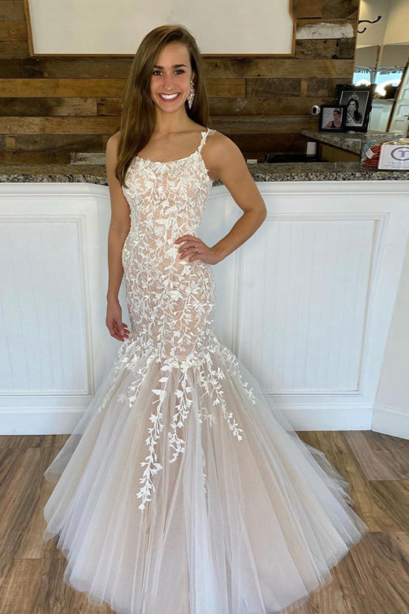 Charming Mermaid Lace Tulle Spaghetti Straps Long Appliques Prom Dresses P1527