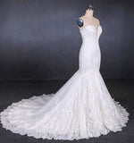Charming Strapless Sweetheart Mermaid Lace Appliques White Wedding Dresses W1126