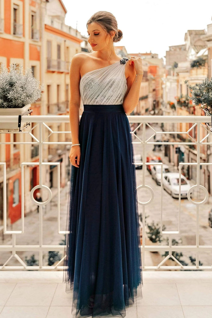 Flowy One Shoulder Navy Blue Tulle Long Prom Dresses, Cheap Formal Dresses P1193